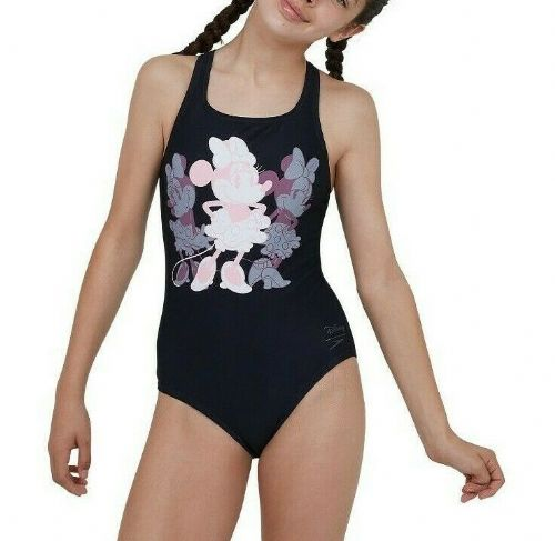 SPEEDO GIRLS MINNIE MOUSE SWIMSUIT.NEW BLACK PLACEMENT SWIMMING COSTUME SS20 96